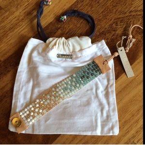 🍃💕NWT Chan Luu 18k Amazonite GP SS Bracelet